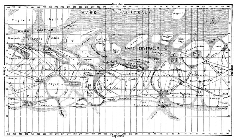 Map of Mars by Giovanni Schiaparelli 1886